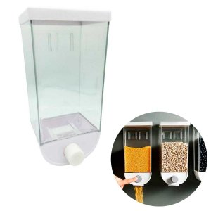 Dispenser Para Cereais Grãos E Doces Parede Acrílico Manual Branco 26x9,5x12cm