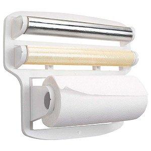 Porta Papel Toalha Triplo Para Rolos De Parede Suporte Branco 37x10x30cm