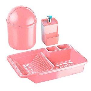 Kit Cozinha Escorredor Louça Porta Detergente Lixeira 4l Pia Rosa