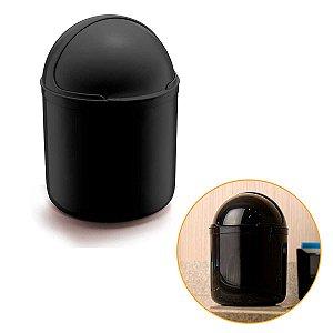 Lixeira Para Cozinha Pia Cesto Lixo Redondo Plástico 4L UZ Preto