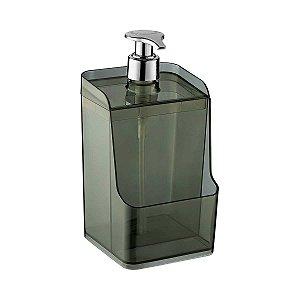 Porta Detergente Dispenser Suporte Esponja Bucha Acrílico Transparente 500ml Uz400-PR