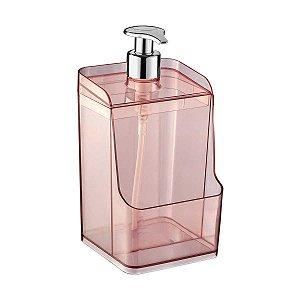 Porta Detergente Dispenser Suporte Esponja Bucha Acrílico Transparente 500ml Uz400-Rosa