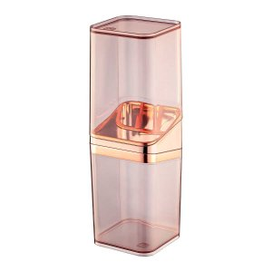 Porta Escova De Dentes Com Tampa Acrílico Premium Retangular Banheiro UZ543- Rose