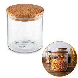 Porta Mantimentos Hermético Vidro Tampa Bambu Condimentos Organizador Cozinha 550ml – UZ