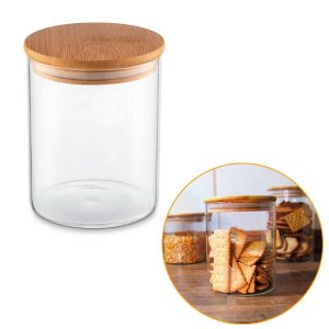 Porta Mantimentos Hermético Vidro Tampa Bambu Condimentos Organizador Cozinha 750ml – UZ