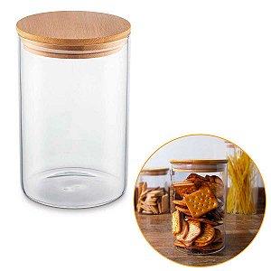 Porta Mantimentos Hermético Vidro Tampa Bambu Condimentos Organizador Cozinha 1 Litro – UZ