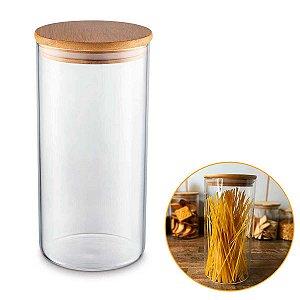 Porta Mantimentos Hermético Vidro Tampa Bambu Condimentos Organizador Cozinha 1,3 Litros – UZ