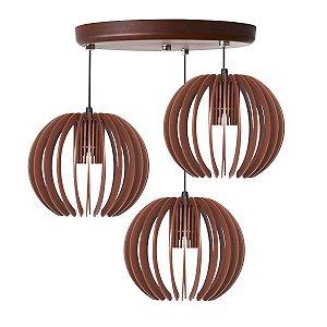 Luminária Pendente Trio Lustre Mdf Cabo e Canopla Alumínio Moderno Garnet Chocolate