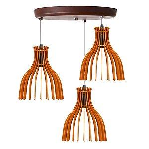 Luminária Pendente Trio Lustre Mdf Cabo e Canopla Alumínio Moderno Rutile Caramelo