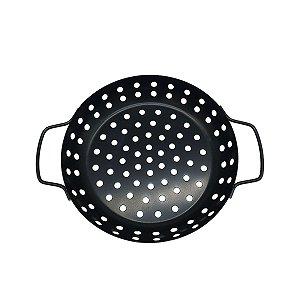 Assadeira Antiaderente Grelha Para Churrasqueira Aço Carbono Forma Furada Redonda