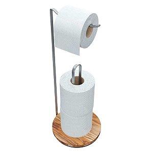 Porta Papel Higiênico Suporte Banheiro Cromado Madeira Teca Sofisticado 3 rolos Premium