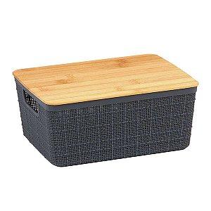 Caixa Organizadora Com Tampa Bambu Pequena Cesto Multiuso Plástico Cinza Decoração 4 Litros