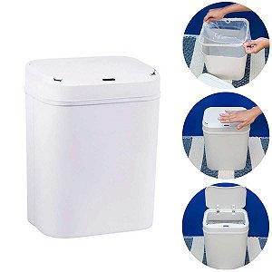 Lixeira Automática Com Sensor Abertura Inteligente 12 Litros Banheiro Cozinha Branca
