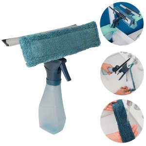 Rodo Para Limpar Vidros Spray Limpa Vidro 3 em 1 Microfibra Rodo Borrifador 220ml