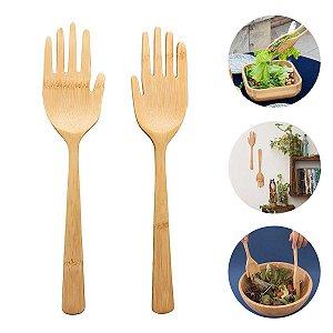 Pegador De Saladas Bambu Mãozinhas Para Bowl Cozinha Conjunto Criativo Oikos