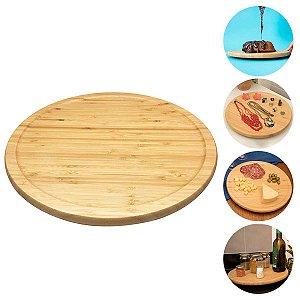 Tábua De Bambu Redonda Com Base Giratória Prático Para Servir Decoração Cozinha 33cm