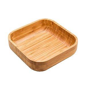 Bowl De Bambu Quadrado Grande 23cm Servir Petiscos Porções Decoração Cozinha