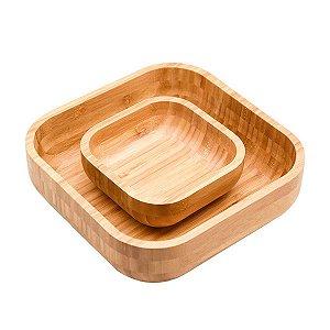 Kit Bowl De Bambu Quadrado 23cm + 14cm Conjunto 2 Peças Petiscos Decoração Cozinha