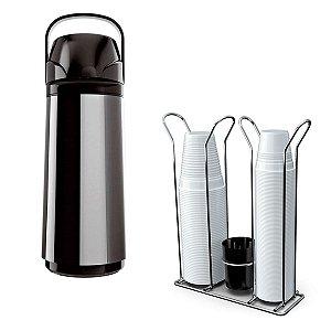 Kit Garrafa Térmica Inox Air Pot New 1 Litro + Suporte Porta Copos Descartáveis Cromado e Preto