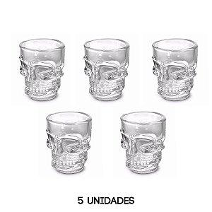 Copo Caveira Shot 5 Unidades Whisky Vodka Tequila 50ml Vidro