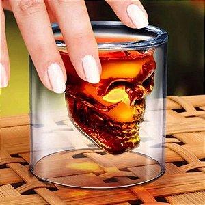 Copo Caveira Shot 150 Ml Vidro Whisky Tequila