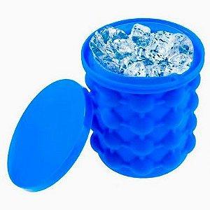 Balde Para Fazer Gelo Rápido Silicone Azul Original