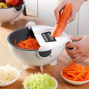 Cortador Ralador Com Escorredor de Legumes Frutas Verduras Multifuncional 7 em 1 - 13L