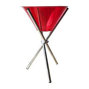 Champanheira Grande em Acrílico Tripé Alumínio 33 Litros 100x56cm Vermelha