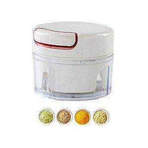 Mini Processador De Alimentos Alho Manual com 2 Lâminas Inox