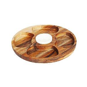 Petisqueira De Madeira com 4 Divisões + 1 Pote Porcelana - 35,5cm