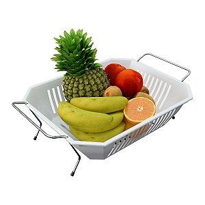 Fruteira De Mesa com Bandeja Branca Removível Com Alça Prática