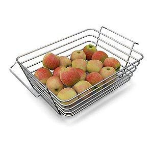 Fruteira De Mesa Multiuso Reforçada Prática Cromada com Alça