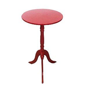 Mesa De Canto Redonda Mdf Retrô Decoração Vermelha 53cm X 30cm