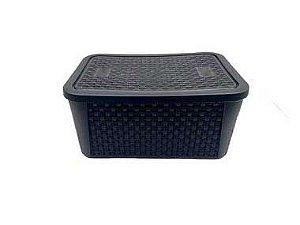 Caixa Organizadora Rattan Retangular Preta 32x22,5x15cm