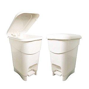 Lixeira Para Banheiro Cozinha Tampa Com Pedal Branca 12 Litros