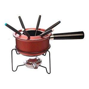 Panela De Fondue Chocolate Queijo Carne 10 Peças Completo Vermelho