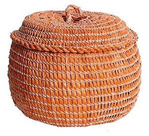 cesto de palha de carnaúba laranja