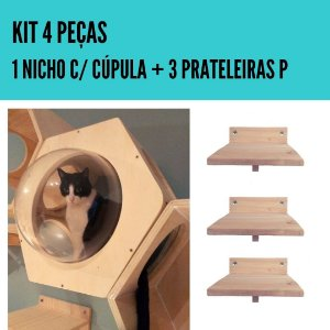 KIT 4 PEÇAS C/ NICHO DE ACRÍLICO