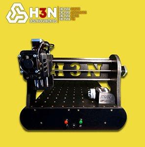 CNC H3N P/ Ourives - 30x30x5 C/ Spindle de 0,7cv (12 Mil RPM) C/ Eixo Rotativo + Gravação interna