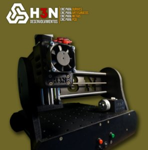 CNC H3N P/ Ourives - 50x50x5 C/ Spindle de 0,7cv (12 Mil RPM) C/ Eixo Rotativo