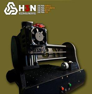 CNC H3N P/ Ourives - 50x50x5 C/ Spindle de 0,7cv (12 Mil RPM) C/ Eixo Rotativo + Gravação interna