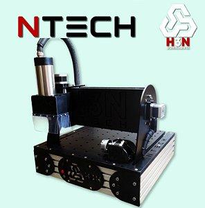 CNC H3N NTECH P/ Ourives - 30x30x5 C/ Spindle de 2 CV (24 Mil RPM) C/ Eixo Rotativo + Kit Fresas + Gravação Interna