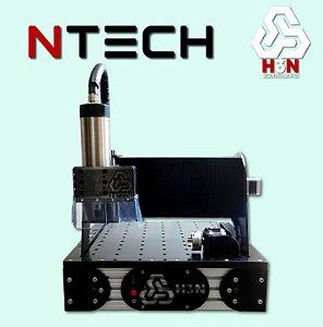 CNC H3N NTECH P/ Ourives - 30x30x5 C/ Spindle de 2 CV (24 Mil RPM) Refrigerada a água C/ Eixo Rotativo + Computador + Kit Fresas + Gravação Interna