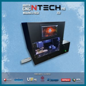 CNC H3N Ntech Pro Ourives Spindle Refrigerado a Ar2cv Cabinado 30x30x7cm- Com Gravação Interna + Kit Fresas Promoção