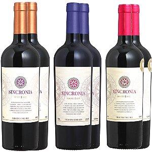 Combo Sincronia Merlot, Malbec e Shiraz - 6 garrafas