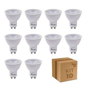 Kit 10 Lâmpadas Led Dicroica Demape 7w Gu10 Branco Quente