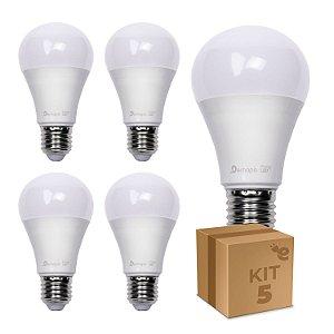 Kit 5 Lâmpada LED Bulbo A60 7W Branco Quente