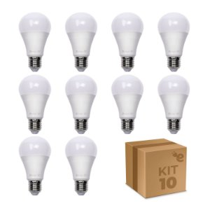 Kit 10 Lâmpada LED Bulbo A60 7W Branco Quente