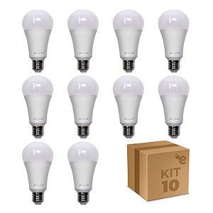 Kit 10 Lâmpada LED Bulbo A65 12W Branco Quente