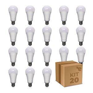 Kit 20 Lâmpada LED Bulbo A65 12W Branco Quente